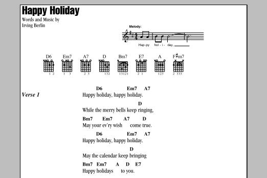Happy Holiday by Irving Berlin - Guitar Chords/Lyrics - Guitar Instructor