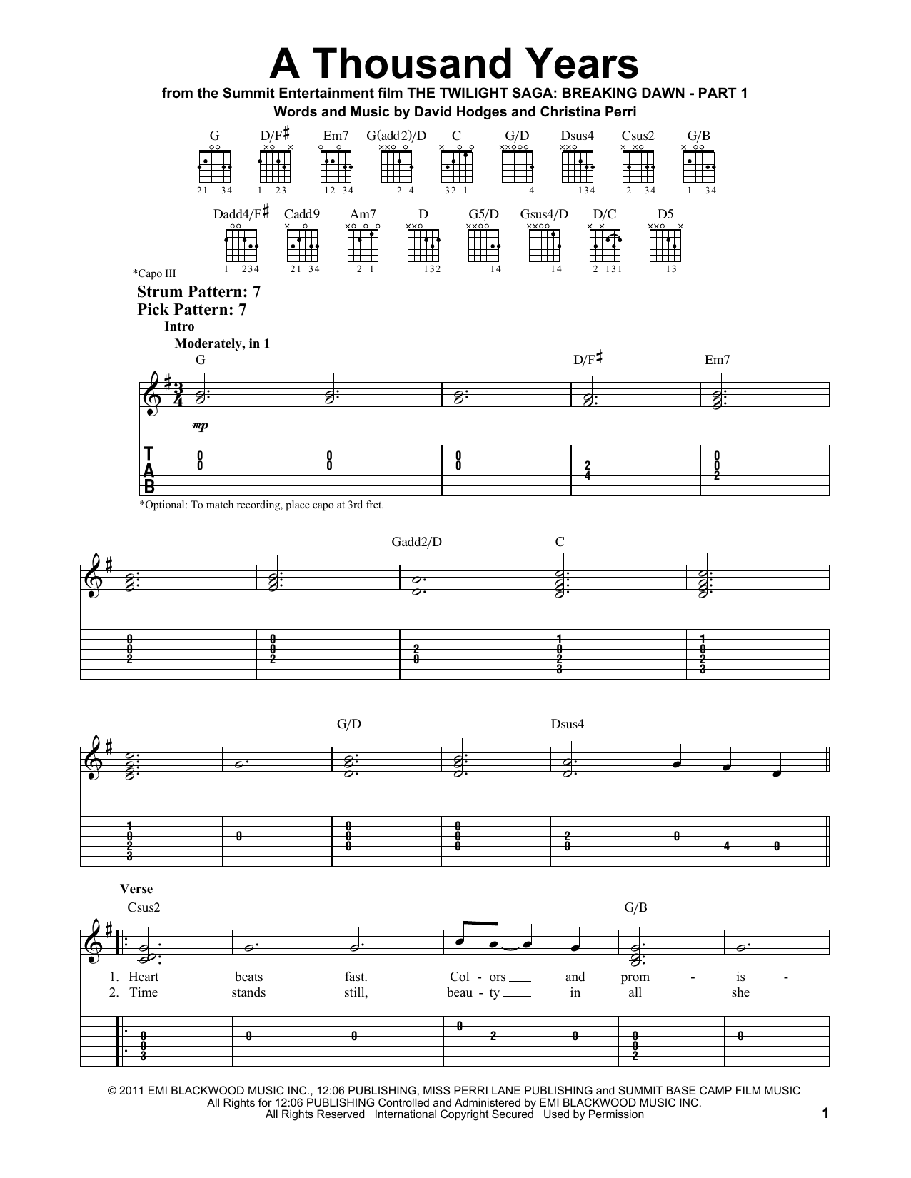 A Thousand Years sheet music by Christina Perri (Easy Guitar Tab u2013 92519)