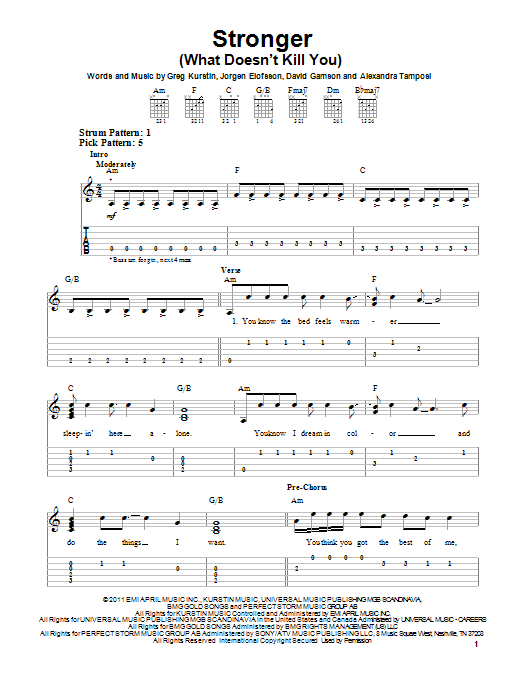 Tablature guitare Stronger (What Doesn't Kill You) de Kelly Clarkson - Tablature guitare facile
