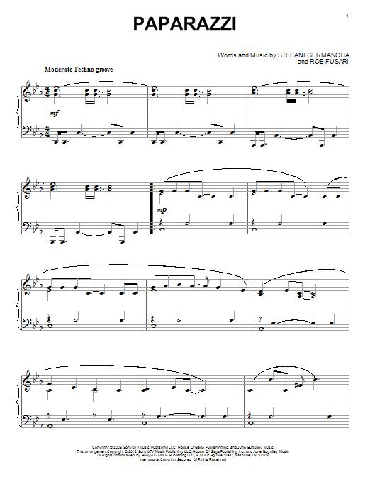 Sheet Music Digital Files To Print Licensed Lady Gaga Digital