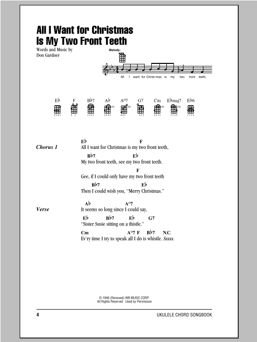 Tablature guitare All I Want For Christmas Is My Two Front Teeth de Don Gardner - Ukulele (strumming patterns)