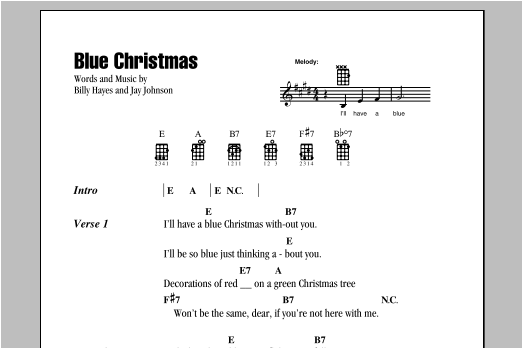 Tablature guitare Blue Christmas de Elvis Presley - Ukulele (strumming patterns)