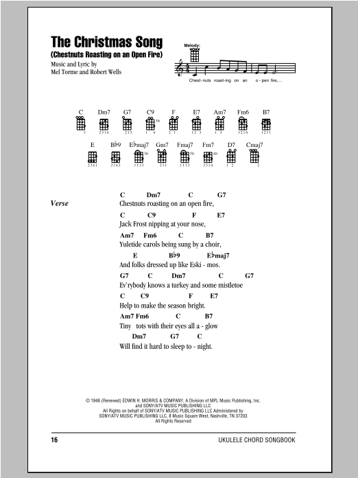 The Christmas Song (Chestnuts Roasting On An Open Fire) sheet music for ukulele (chords) by Robert Wells