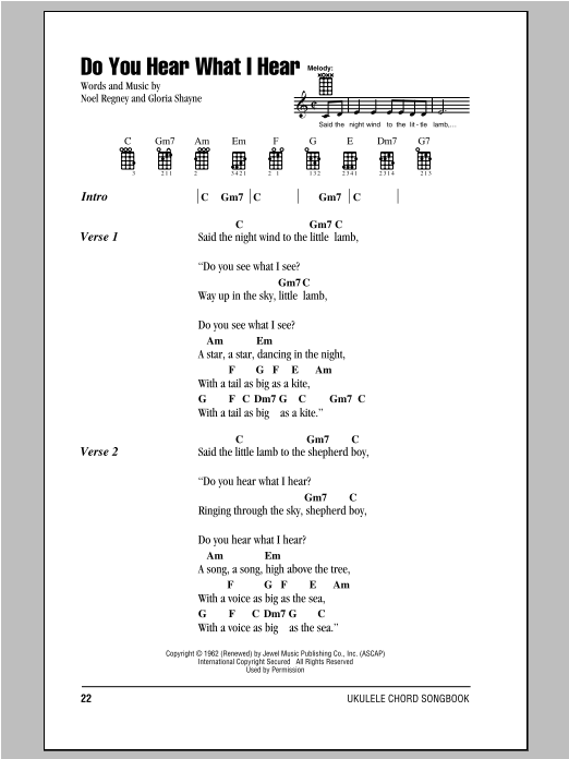 Tablature guitare Do You Hear What I Hear de Noel Regney - Ukulele (strumming patterns)
