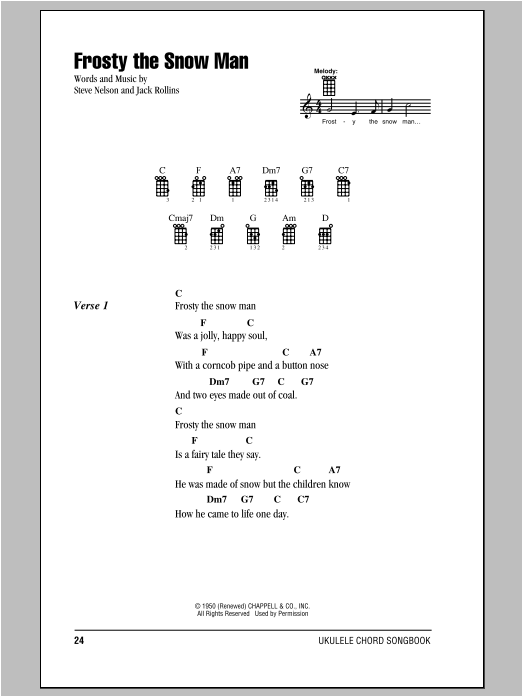Tablature guitare Frosty The Snow Man de Steve Nelson - Ukulele (strumming patterns)