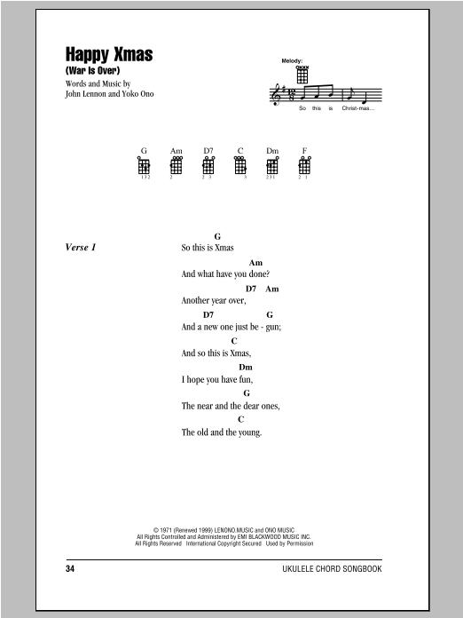 Tablature guitare Happy Xmas (War Is Over) de John Lennon - Ukulele (strumming patterns)