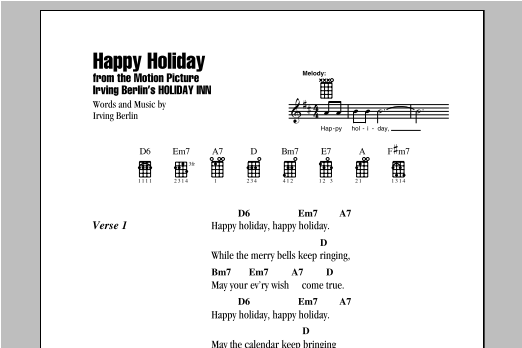 Tablature guitare Happy Holiday de Irving Berlin - Ukulele (strumming patterns)