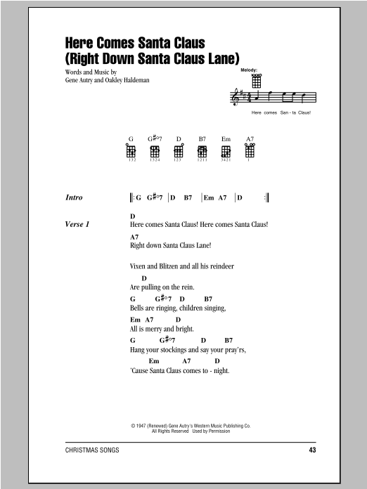 Tablature guitare Here Comes Santa Claus (Right Down Santa Claus Lane) de Gene Autry - Ukulele (strumming patterns)