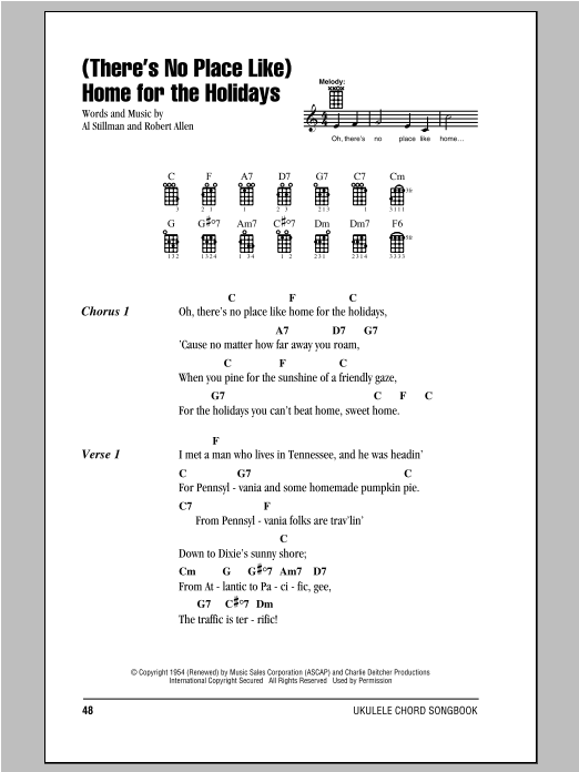 Tablature guitare (There's No Place Like) Home For The Holidays de Perry Como - Ukulele (strumming patterns)