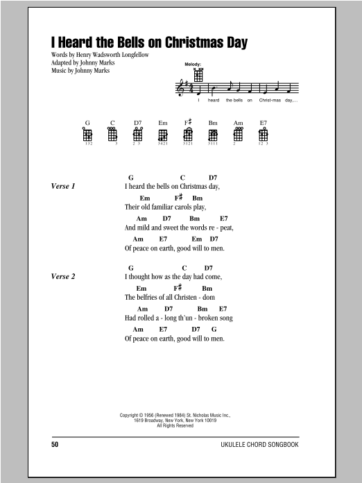 sheet music digital by merriam music - I Heard The Bells On Christmas Day Chords
