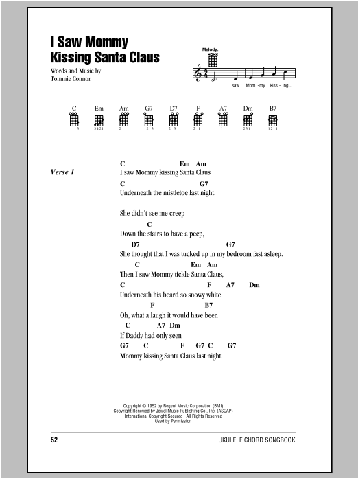 Tablature guitare I Saw Mommy Kissing Santa Claus de Tommie Connor - Ukulele (strumming patterns)