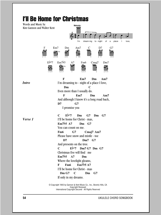 Tablature guitare I'll Be Home For Christmas de Bing Crosby - Ukulele (strumming patterns)