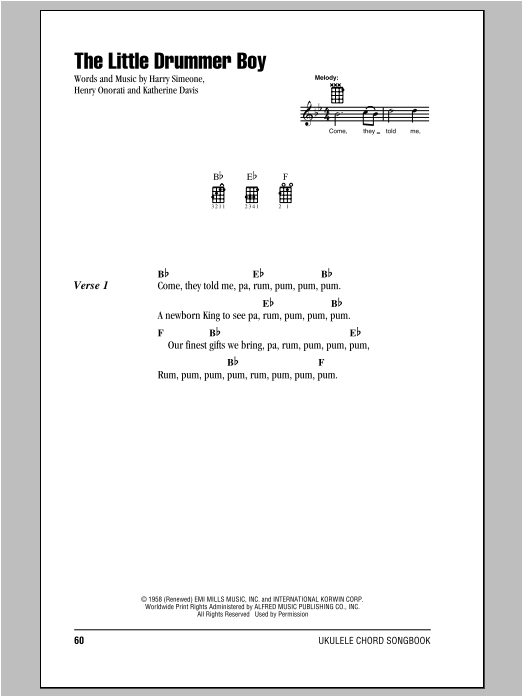 Tablature guitare The Little Drummer Boy de Katherine Davis - Ukulele (strumming patterns)