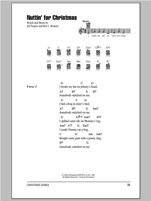 Tablature guitare Nuttin' For Christmas de Roy C. Bennett - Ukulele (strumming patterns)