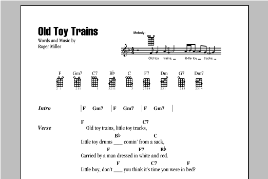 Tablature guitare Old Toy Trains de Roger Miller - Ukulele (strumming patterns)