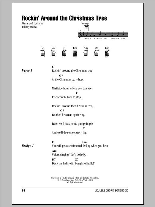 Tablature guitare Rockin' Around The Christmas Tree de Johnny Marks - Ukulele (strumming patterns)