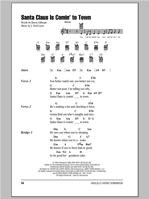 Tablature guitare Santa Claus Is Comin' To Town de J. Fred Coots - Ukulele (strumming patterns)
