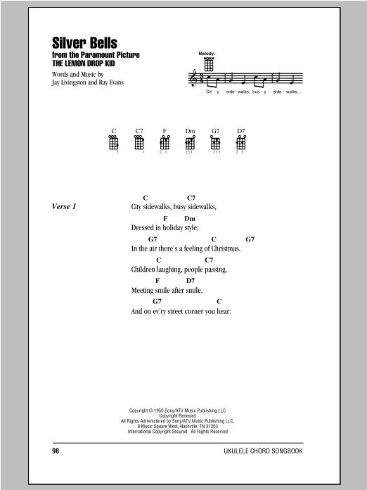 Tablature guitare Silver Bells de Ray Evans - Ukulele (strumming patterns)