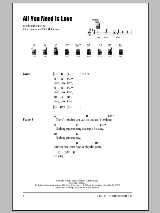 Tablature guitare All You Need Is Love de The Beatles - Ukulele (strumming patterns)