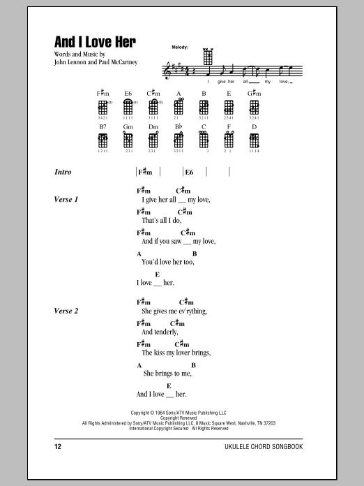 Tablature guitare And I Love Her de The Beatles - Ukulele (strumming patterns)