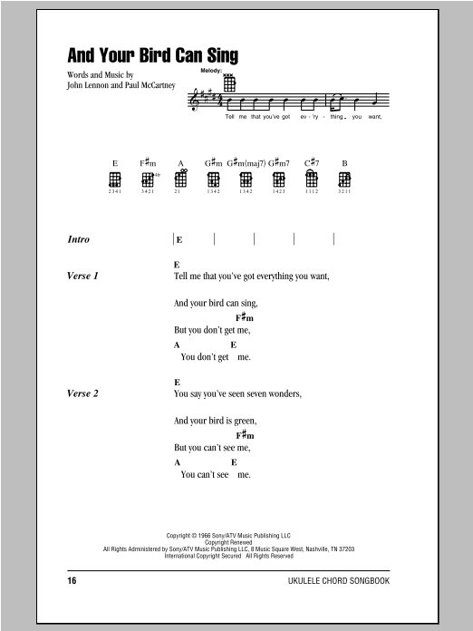 Tablature guitare And Your Bird Can Sing de The Beatles - Ukulele (strumming patterns)