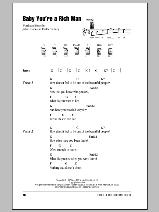 Tablature guitare Baby You're A Rich Man de The Beatles - Ukulele (strumming patterns)