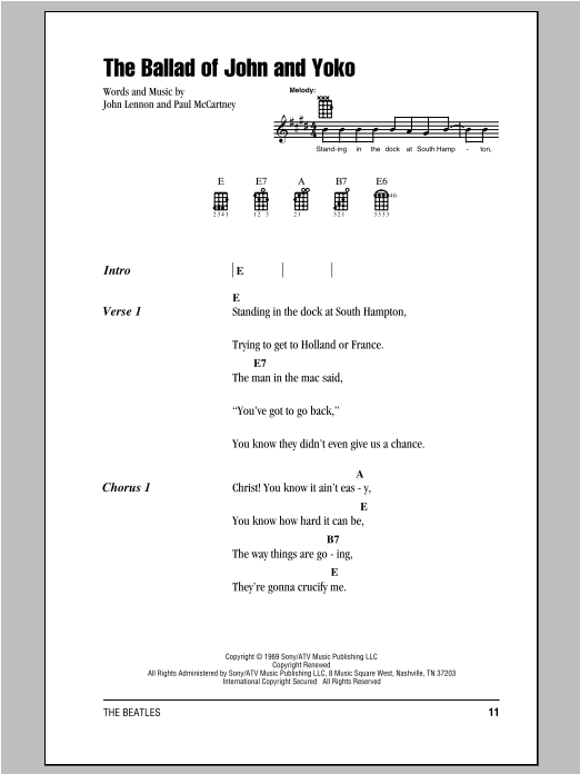Tablature guitare The Ballad Of John And Yoko de The Beatles - Ukulele (strumming patterns)
