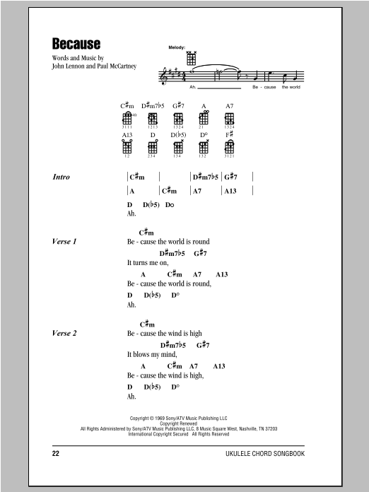 Tablature guitare Because de The Beatles - Ukulele (strumming patterns)