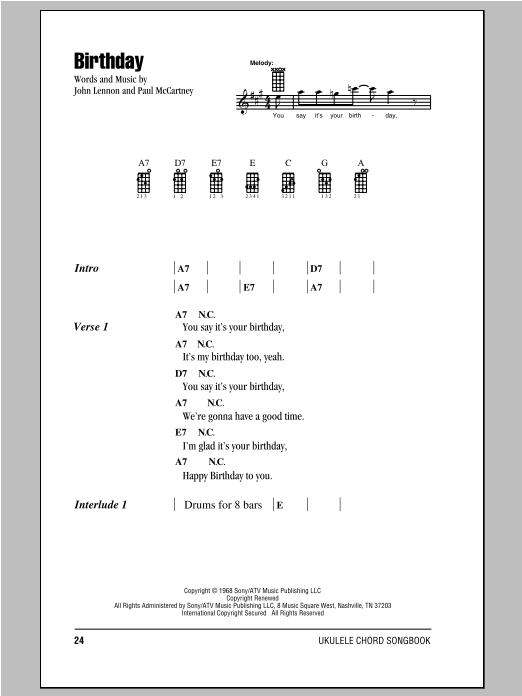 Tablature guitare Birthday de The Beatles - Ukulele (strumming patterns)