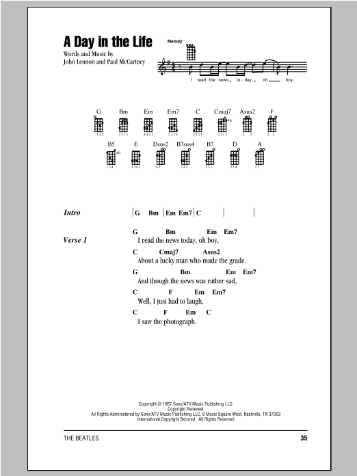 A Day In The Life sheet music for ukulele (chords) by Paul McCartney