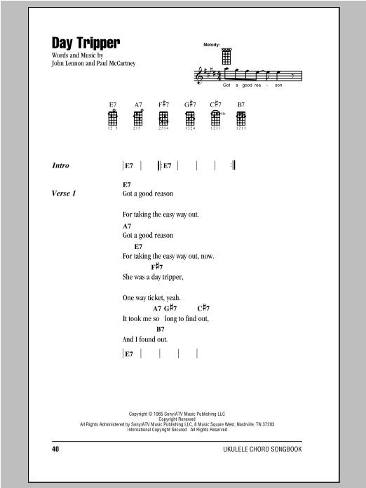 Tablature guitare Day Tripper de The Beatles - Ukulele (strumming patterns)