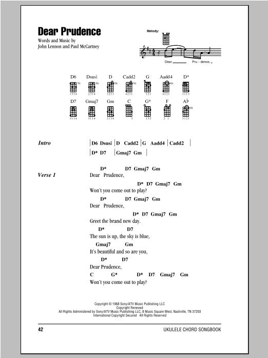 Tablature guitare Dear Prudence de The Beatles - Ukulele (strumming patterns)