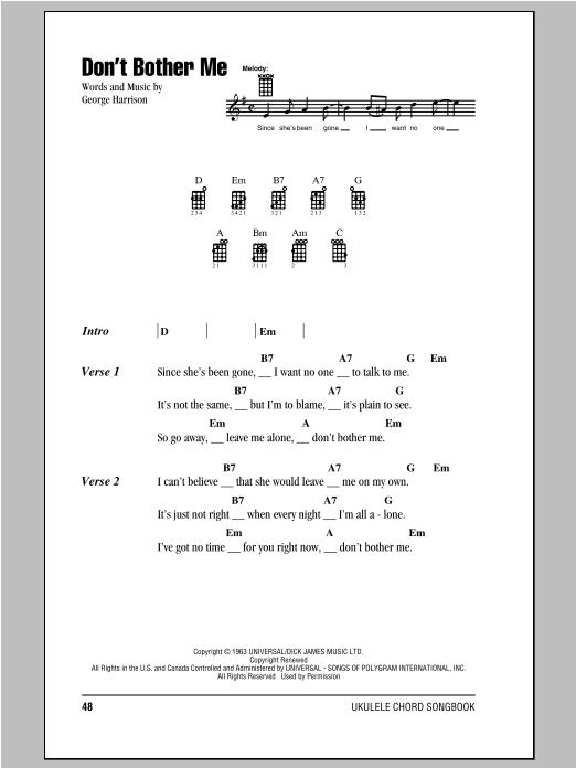 Tablature guitare Don't Bother Me de The Beatles - Ukulele (strumming patterns)