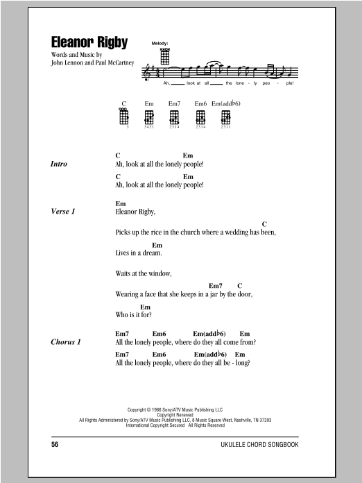 Tablature guitare Eleanor Rigby de The Beatles - Ukulele (strumming patterns)