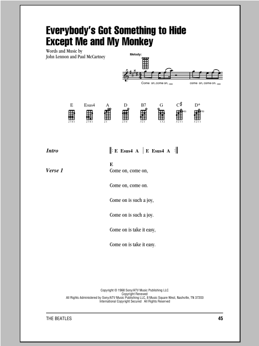 Tablature guitare Everybody's Got Something To Hide Except Me And My Monkey de The Beatles - Ukulele (strumming patterns)