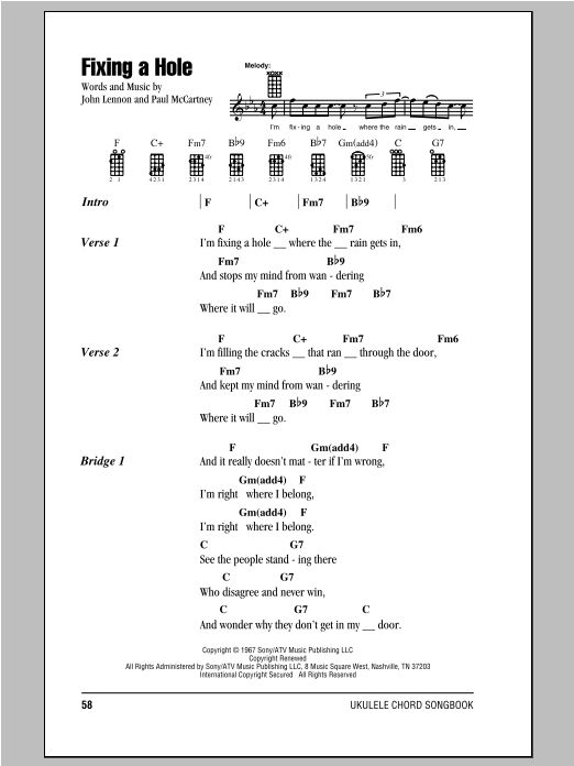 Tablature guitare Fixing A Hole de The Beatles - Ukulele (strumming patterns)