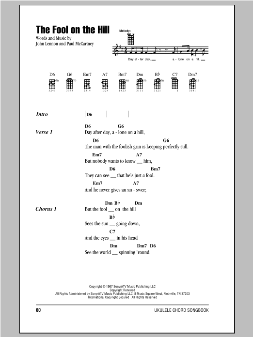 Tablature guitare The Fool On The Hill de The Beatles - Ukulele (strumming patterns)