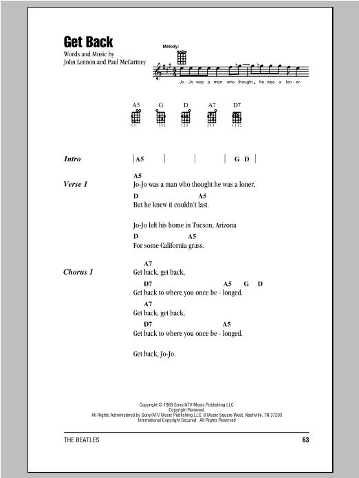 Tablature guitare Get Back de The Beatles - Ukulele (strumming patterns)