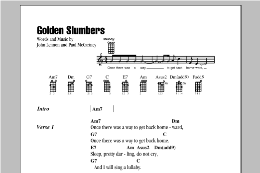 Tablature guitare Golden Slumbers de The Beatles - Ukulele (strumming patterns)