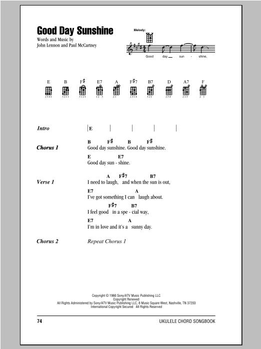 Tablature guitare Good Day Sunshine de The Beatles - Ukulele (strumming patterns)