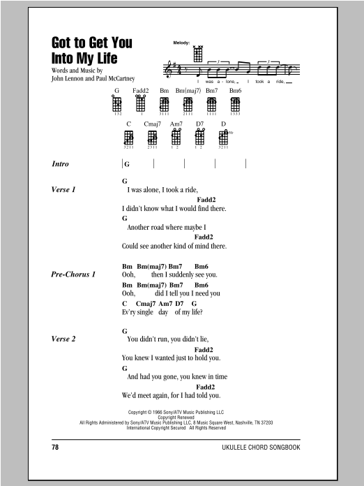 Tablature guitare Got To Get You Into My Life de The Beatles - Ukulele (strumming patterns)