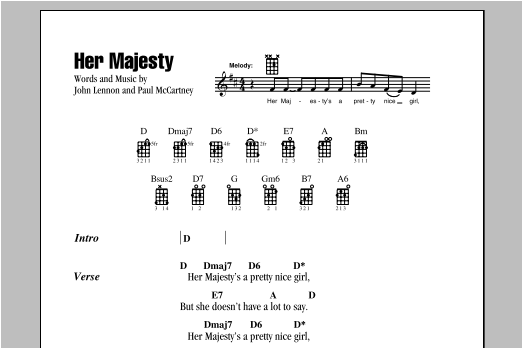Tablature guitare Her Majesty de The Beatles - Ukulele (strumming patterns)