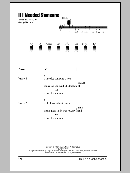 Tablature guitare If I Needed Someone de The Beatles - Ukulele (strumming patterns)