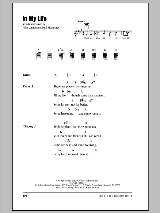 Tablature guitare In My Life de The Beatles - Ukulele (strumming patterns)