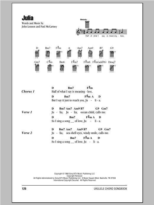 Tablature guitare Julia de The Beatles - Ukulele (strumming patterns)