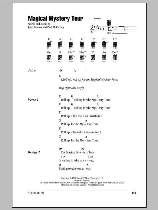 Tablature guitare Magical Mystery Tour de The Beatles - Ukulele (strumming patterns)