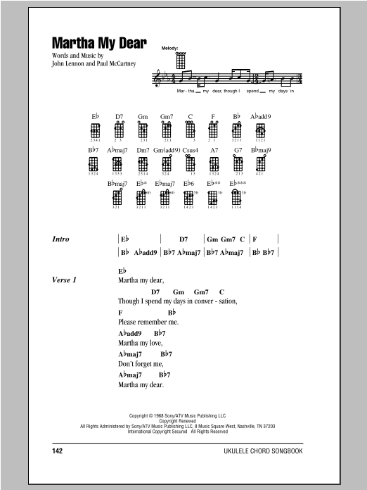 Tablature guitare Martha My Dear de The Beatles - Ukulele (strumming patterns)