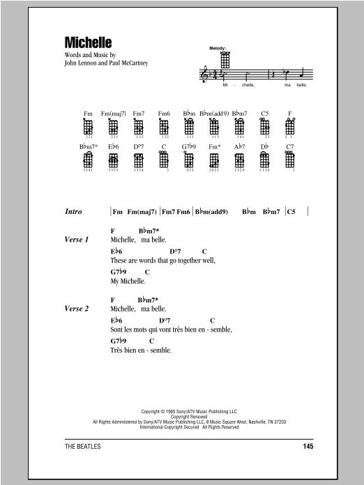 Tablature guitare Michelle de The Beatles - Ukulele (strumming patterns)