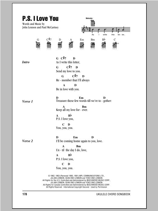 Tablature guitare P.S. I Love You de The Beatles - Ukulele (strumming patterns)