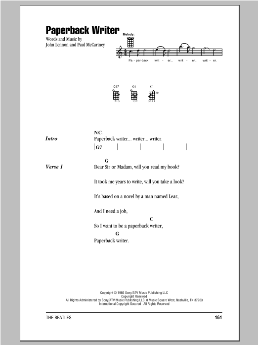 Tablature guitare Paperback Writer de The Beatles - Ukulele (strumming patterns)